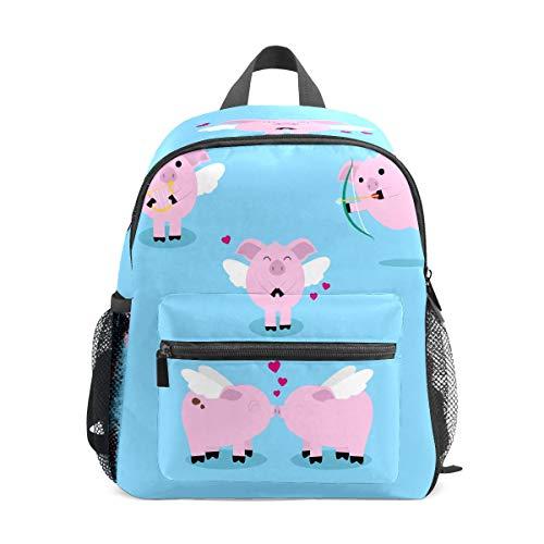 Kids Backpack Preschool Kids School Bag Boy Girl Lightweight Shoulder Book Bag for 1-6 Years Old Perfect Back Pack for Toddler to Kindergarten Cute Angel Pig Pig