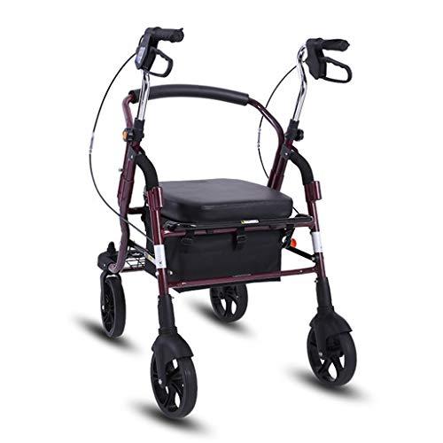 ShenZuYangShop Winkelwagen aluminium legering uitgeschakeld vouwen draagbare walker rollator hoogte verstelbare katrol met zitting voor ouderen om plantaardige karren te kopen