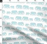 Elefant, Parade, Blau, Baby Blau, Baby Elefant Stoffe -