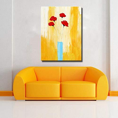 Modern schilderij rode bloemen op een gele achtergrond op linnen doek, woondecoratie frameloze schilderij 45x60cm