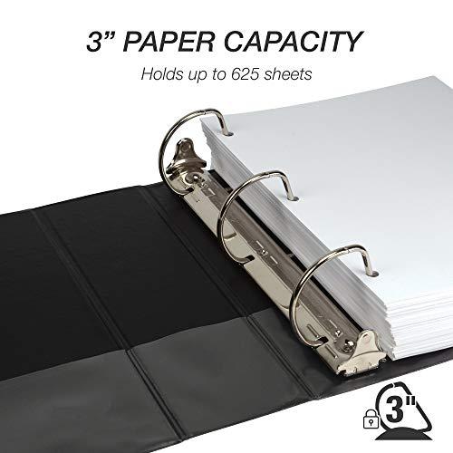 Samsill Durable 3 Inch Binder Black D Ring Binder/Customizable Clear View Binder/Bulk Binder 4 Pack/Black 3 Ring Binder 3 inch (MP46480) Photo #5