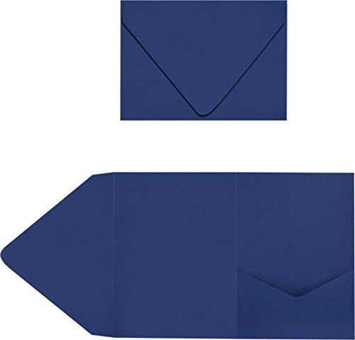 A7 Pocket Invitations - Navy (100 Qty.) | Perfect for Invitation Suites, Weddings, Announcements, Sending Cards, Elegant Events | Printable | LUX-A7PKT103-100