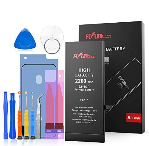 Akku für iPhone 7 2200mAh, FLYLINKTECH rsatz mit höherer Kapazität als andere Batterien, Batterie mit Werkzeugset und Reparaturset