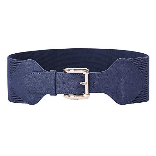 Women's Retro Elastic Wide Waist Cinch Belt Navy Blue Size L CL998-6