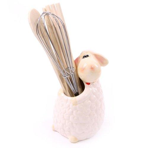 Céramique mouton Support pour ustensiles avec accessoires