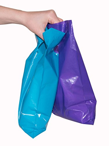 "200 small glossy purple & teal plastic merchandise bags w/die cut handles 9x12"", retail shopping bags perfect for small shops & stores, trade shows, garage sales & events"
