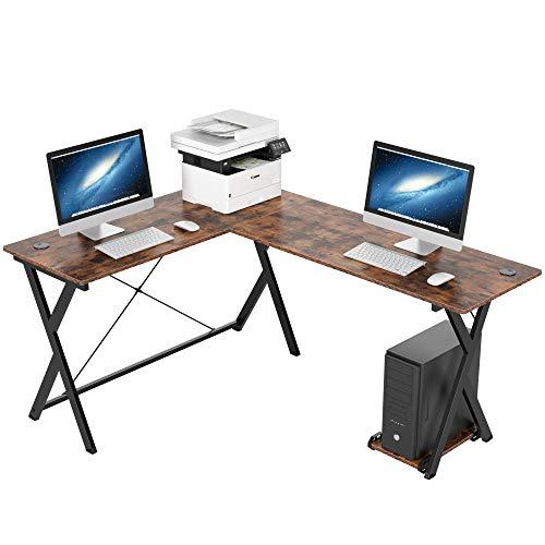 Homfa Escritorio en L Mesa de Escritorio Mesa para Ordenador Escritorio Esquina para Oficina Estudio con Soporte para Monitor Madera y Metal Estilo Indusrial Negro y Vintage 158x120x72cm