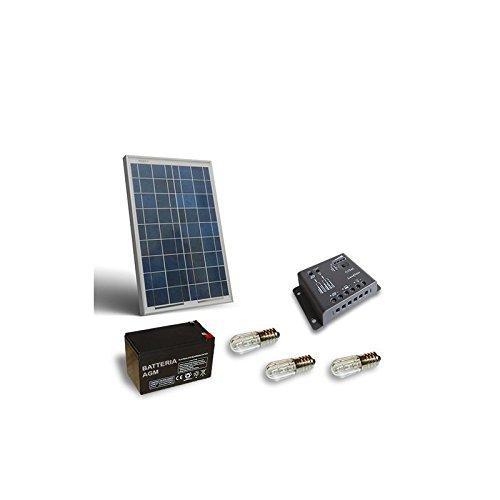 PuntoEnergia Italia - Kit Solar Votivo 20W Placa fotovoltaico Batería 12Ah 12V...
