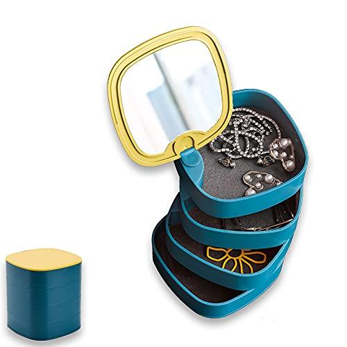 Organizador joyero y maquillaje giratorio con espejo de cuatro compartimentos Ed-12