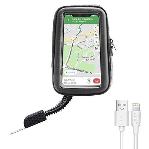 """BEISK, Soporte Móvil Moto + Cable iPhone 2.1A, Funda Impermeable De PVC, Rotación de 360º, Pantalla Táctil, Compatible con Móviles con Pantalla de 3.5""""-6.5"""", para Motocicleta"""