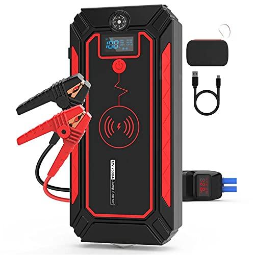 Arrancador de Batería de Coche 2500A 24000mAh Starter Powerbank Emergency Battery Booster con DIRIGIÓ Linterna USB Puerto Fácil de Conectar (Color : Black, Size : 24000mAh)