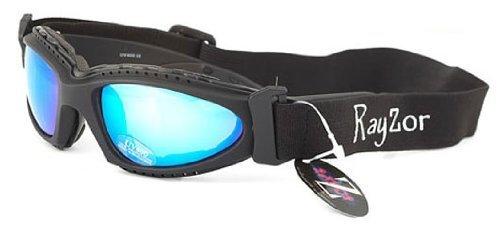 Rayzor professionnel UV400 Noir 2 en 1 ski/snowboard Lunettes de soleil/lunettes, avec un anti-brouillard bleu iridium miroir anti-éblouissement Clarté lens et un bandeau élastique amovible