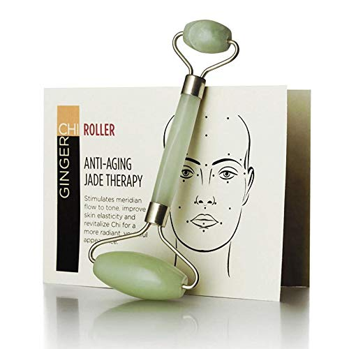 Ginger Chi Anti-Aging Jade Roller Face-Neck Massager Facial Body Eye Puffiness Treatment Reduce Wrinkles Skin Tightening