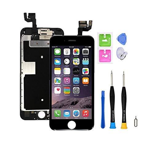 Écran de remplacement pré-assemblé compatible avec l'iPhone 6s (4,7 pouces) (modèles A1633, A1688, A1700), numériseur à écran tactile avec caméra frontale, haut-parleur d'oreille, capteur. (Noir)