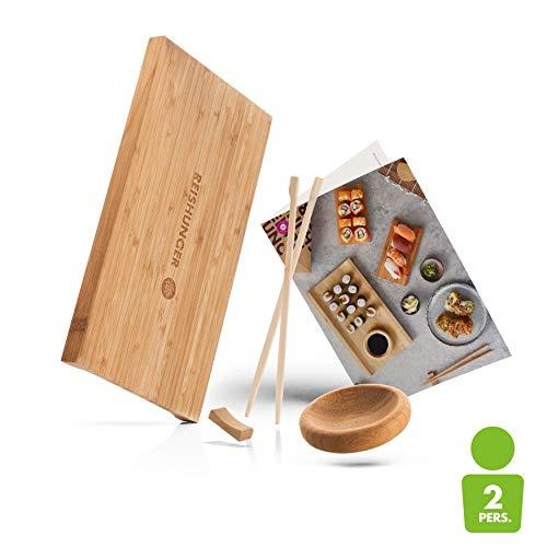 Reishunger Sushi Servier Set, traditionelles Service aus Bambus, 4 teiliges Geschirrset für Sushi Fans