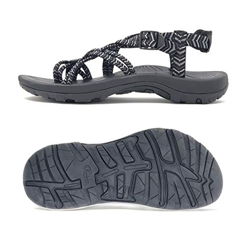 Viakix Walking Sandals Women – Comfortable Athletic Sandles with Arch Support, for Hiking, Outdoors, Water, Sports Trekking Black