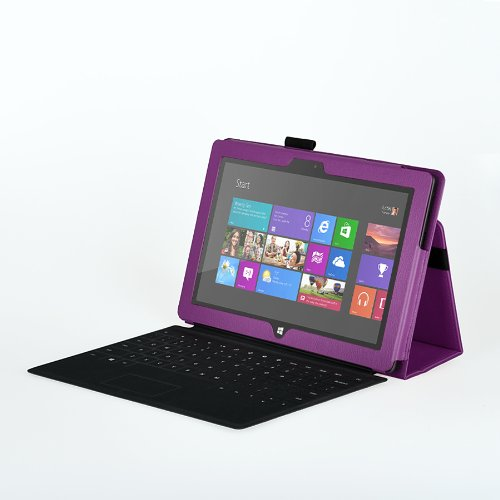 Bear Motion Elsse (TM) Premium Folio Case with Stand for Microsoft Surface RT/Surface 2 (Does not fit Surface Pro Version/Keyboard and Tablet NOT Included) (Surface 2 / Surface RT, Purple)