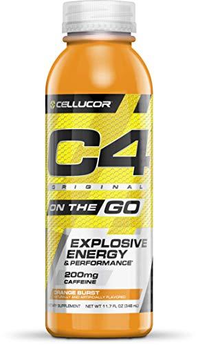 Cellucor C4 OTG pre Workout Drink, Energy Drink + beta Alanine, Orange Burst, 11.7 fl Ounce (Pack of 12), 12 Count