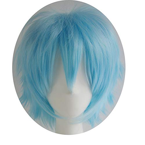 Alacos Short Fashion Spiky Layered Anime Cosplay Wig HalloweenChristmasCarnivalDressUpPretendPlayPartyWigGift+Cap, Aqua Blue, One Size