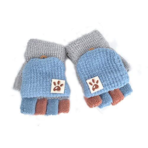 Guanti senza dita per bambini, autunno e inverno, caldi, a 5 dita, lavorazione patchwork, unisex, per bambino e bambina da 2 a 6 anni di età a Taglia unica