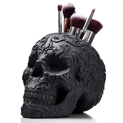 Skull Makeup Brush Holder, Pen Holder, Vanity, Desk, Office Organizer, Stationary, Decor Planter by Wicked Vanity Beauty