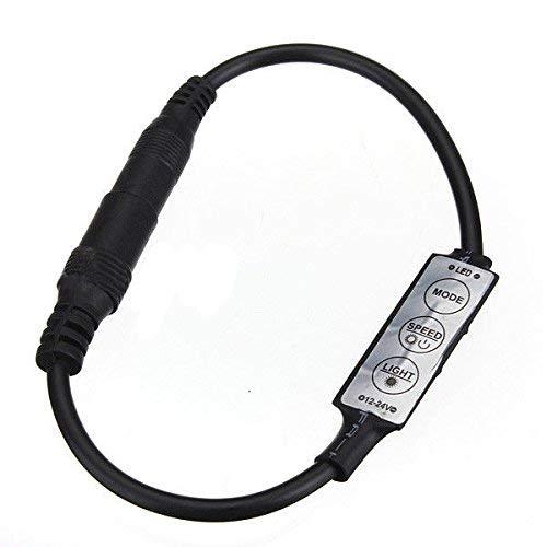Control en línea de bajo perfil de calidad premium Mini 3 interruptor regulador de intensidad para tira de luz LED negro