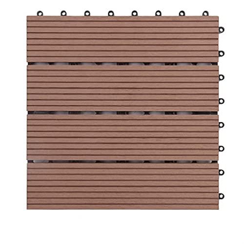 Azulejos de Piso de Enclavamiento de 300 x 300 mm Pisos de Madera plásticos para el Suelo de jardín de balcón al Aire Libre Bricolaje Decoración del hogar Easy Assembly (Color : Dark Red)