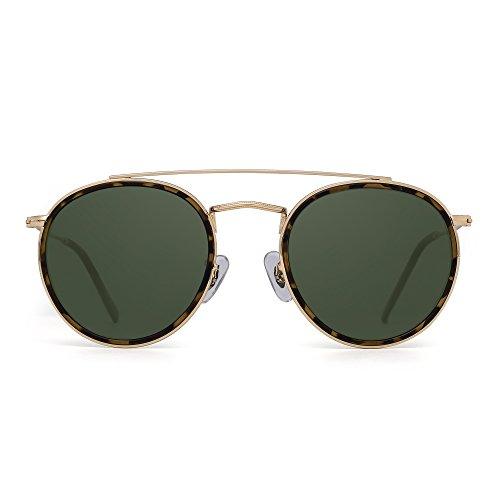 JIM HALO Occhiali da Sole Polarizzati Rotondi Cornice in Metallo Vetro Piatto Circolare Occhiali Uomo Donna (Lega d'oro Punta Tartaruga/Verde polarizzato)