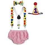 FYMNSI Disfraz de circo para primer cumpleaños de bebé niño con tirantes y funda para pañales, pajarita y sombrero, juego de 3 piezas y 4 accesorios para fotos