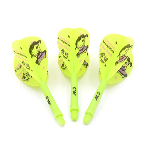 CUESOUL ROST Integrated Dartpfeile Schäfte Shafts and Darts Flights Pear-Teardrop Shape,Set of 3 pcs Süßes Mädchen Pattern(CSAK-53SDNH)