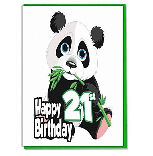 Panda 21e verjaardagskaart - Dames - Heren - Dochter - Zoon - Vriend - Echtgenoot - Vrouw - Broer - Zuster - Moeder - Papa
