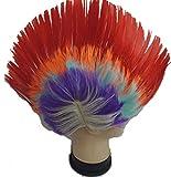 Hemuu 1PCS Arcoiris Gallo Peluca Payasos Peluca, Halloween Divertidas Disfraces Vertical Pelucas, Fiesta Cosplay Peluca, Peluca de Cabeza de Corona de Pollo, Prank Wig Clown Wigs para Adultos