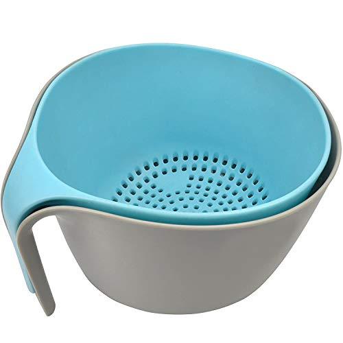 Baalaa 2 en 1 grandes coladores y coladores de alimentos adecuados para el lavado de frutas y verduras, base antideslizante