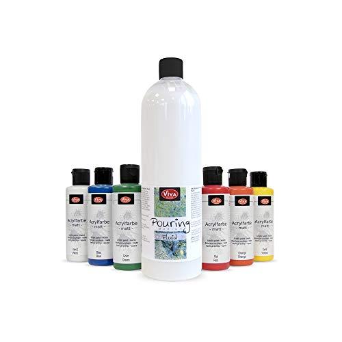 Pouring Acrylfarben Set (Classic Colors + 1 Liter Pouring Medium Fluid Acryl) für Leinwand & Staffelei. Geeignet als Gieß-Farbe für Puddle-Pouring Dirty-Pouring Flip Cup. Gieß-Farbe, Pouring-Farbe