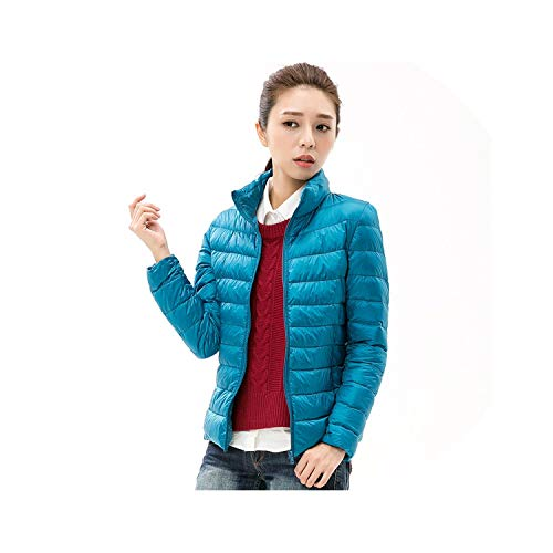 Wenzi-day Woman Stand Collar Slim Short Ultra Light Down Jackets Female Wear Coat Parkas,Lake Blue,S