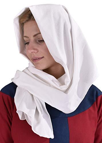 Battle-Merchant Langes Mittelalter Kopftuch aus Baumwolle Natur - Dreadlocks Tuch historische Kopfbedeckung Wimpel Wikinger (Natur)