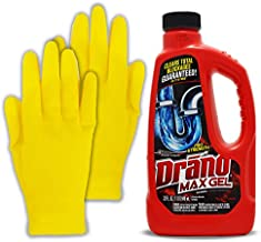 Draino Max Gel Kit: Professional Strength Drano Drain Clog Liquid Remover Cleaner, Works On Hair and More in The Bathtub, Sink, Shower & HeroFiber Rubber Protection Gloves.