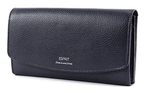 Esprit Damen Geldbörse Geldtasche Portemonnaies Classic Flap Clutch Leder Blau