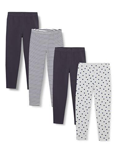 Amazon-Marke: RED WAGON Mädchen Leggings mit Print, 4er-Pack, Mehrfarbig (Streifen/Stern), 122, Label:7 Years