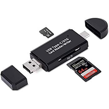 FLAGTOP 3 in 1 Memory Card Reader, Micro USB/USB/USB C to SDXC, SDHC, SD, MMC, RS-MMC, Micro SDXC, Micro SD, Micro SDHC Card and UHS-I, YC-3202