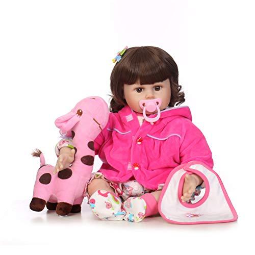 ZGHIAO Handgemachte weicher Silikon-60cm Reborn Baby Doll Mädchen Naturgetreue Blaue Augen Neugeborenes Mädchen-Spielzeug-Puppe Dieses Blick Echtkinder Vinyl Geburtstags-Geschenk,Rosa