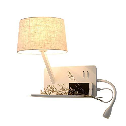 Modern USB Applique murale flexible réglable LED 3W Lampe de lecture lampe de chevet avec interrupteur Blanc chaud intérieur Chambre Veilleuse Abat-jour en tissu Spot Lampe design, E27 max 40 W