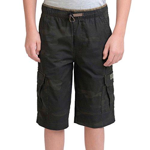 UNIONBAY Boys' 100% Cotton Cargo Short with Pull On, Elastic Waist (10, Army Camo)