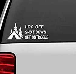 Autocollant pour voiture – Log off, shut down, get outdoors