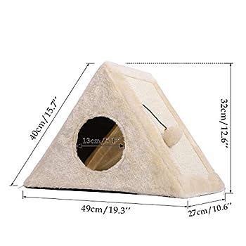 PAWZ Road 2 en 1 Dôme Niche pour Chat Chiot avec griffoir en sisal et Balle Suspendue, Maison Stable et Multifonctionnel Version Améliorée L49*H32cm Beige
