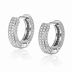 White Gold Iced Out Cubic Cuff Hoop Earrings