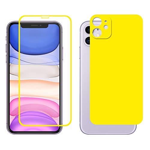 Dmtrab para Para iPhone 11 Hat-Prince Glue Full 0.26mm 9h 2.5d Frontal Tempered Vidrio Cobertura Completa película y película Negra con la función Protector de Lentes de cámara (Color : Yellow)
