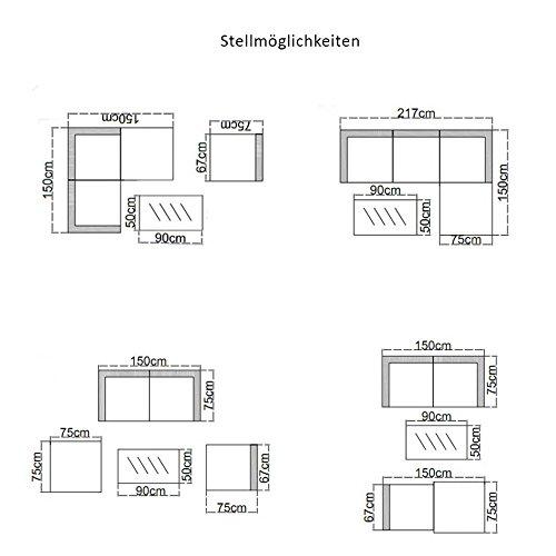 SVITA California Poly-Rattan Lounge Gartenset Sofa-Set Garnitur Gartenmöbel Couch-Set - 6