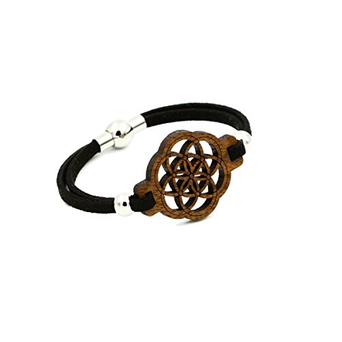 Eydl Wood Jewelry Samen des Lebens - Armband aus Holz - Nuss - schwarzes Lederband - Magnetverschluss