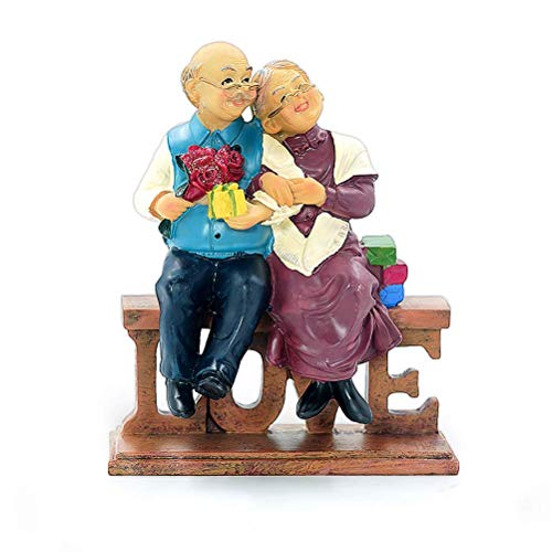 Aoneky Figura de Aniversario de Bodas - Figura de Pareja Mayor, Regalo para Abuelos Ancianos Mayores Padres, Decoración del Hogar Casa Oficina, Estatua Escultura de Resina Regalo de Bodas de Oro Plata